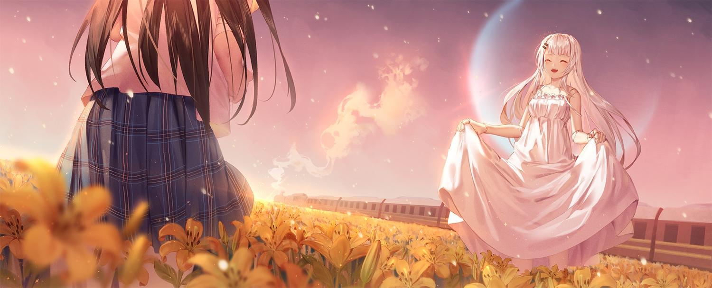 brown_hair doll dress flowers ji_dao_ji long_hair original school_uniform skirt_lift sky summer_dress train white_hair