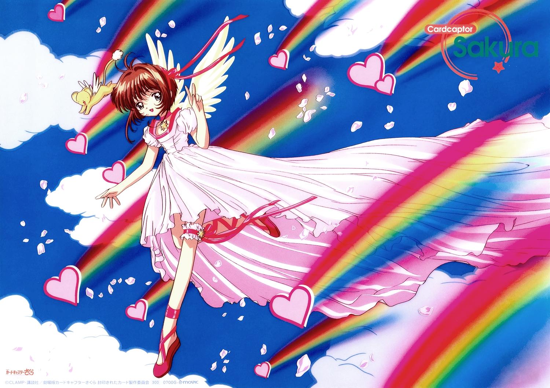 card_captor_sakura dress garter kero kinomoto_sakura scan third-party_edit wings
