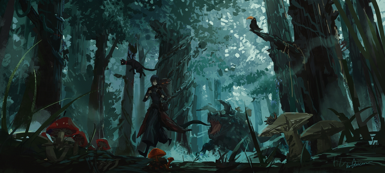 all_male animal bird black_hair cat forest horns infukun male original pixiv_fantasia short_hair signed tree