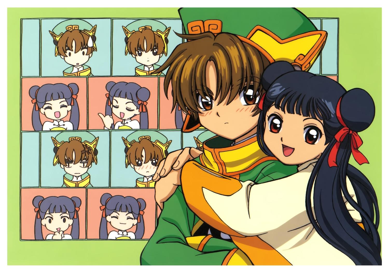 black_hair brown_eyes brown_hair card_captor_sakura clamp hug li_meiling li_syaoran long_hair male ribbons scan short_hair twintails