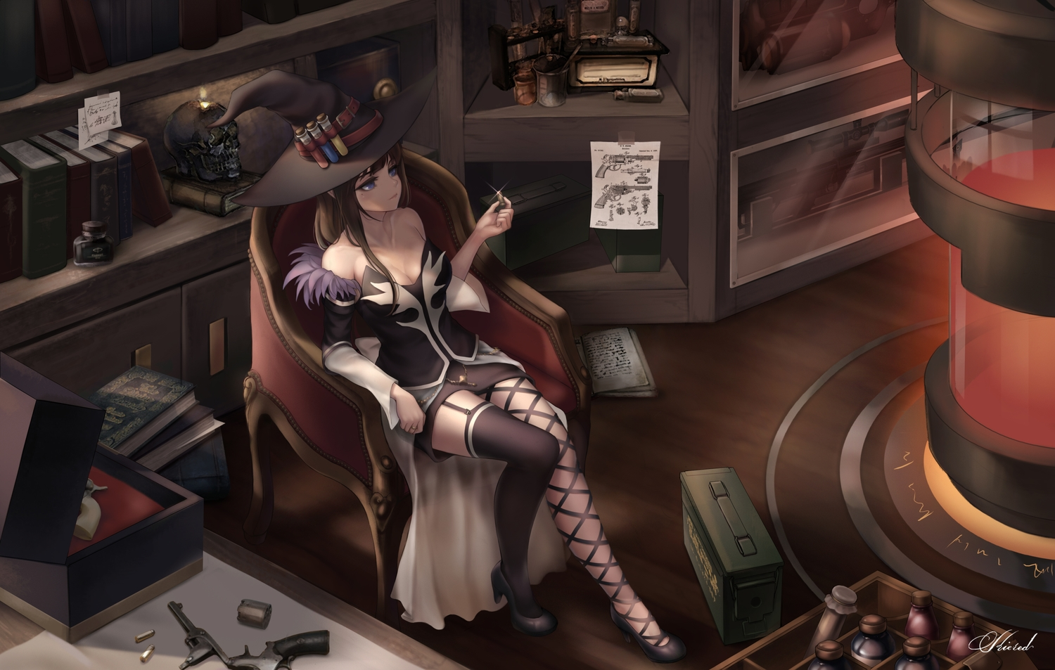 brown_hair dungeon_and_fighter female_mage_(dnf) gun hat kie_(wylee2212) long_hair skirt stockings weapon witch witch_hat