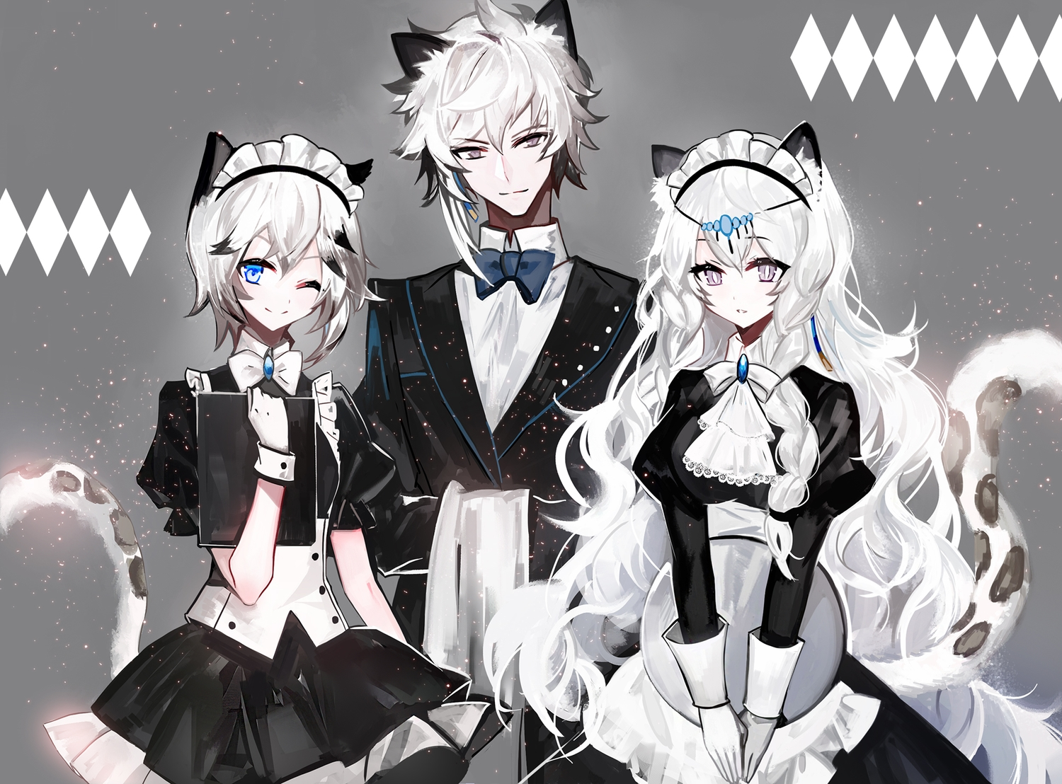 animal_ears apron aqua_eyes arknights bow braids catgirl cliffheart_(arknights) gray gray_eyes headdress long_hair maid male moemoe3345 pramanix_(arknights) short_hair silverash_(arknights) suit tail tie waitress white_hair wink wristwear