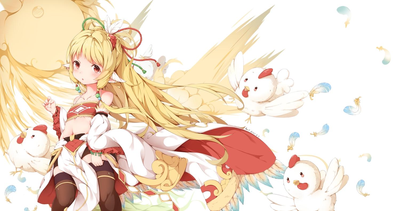 animal anno_(yukikaze_08) bird blonde_hair feathers granblue_fantasy loli long_hair mahira_(granblue_fantasy) navel red_eyes thighhighs