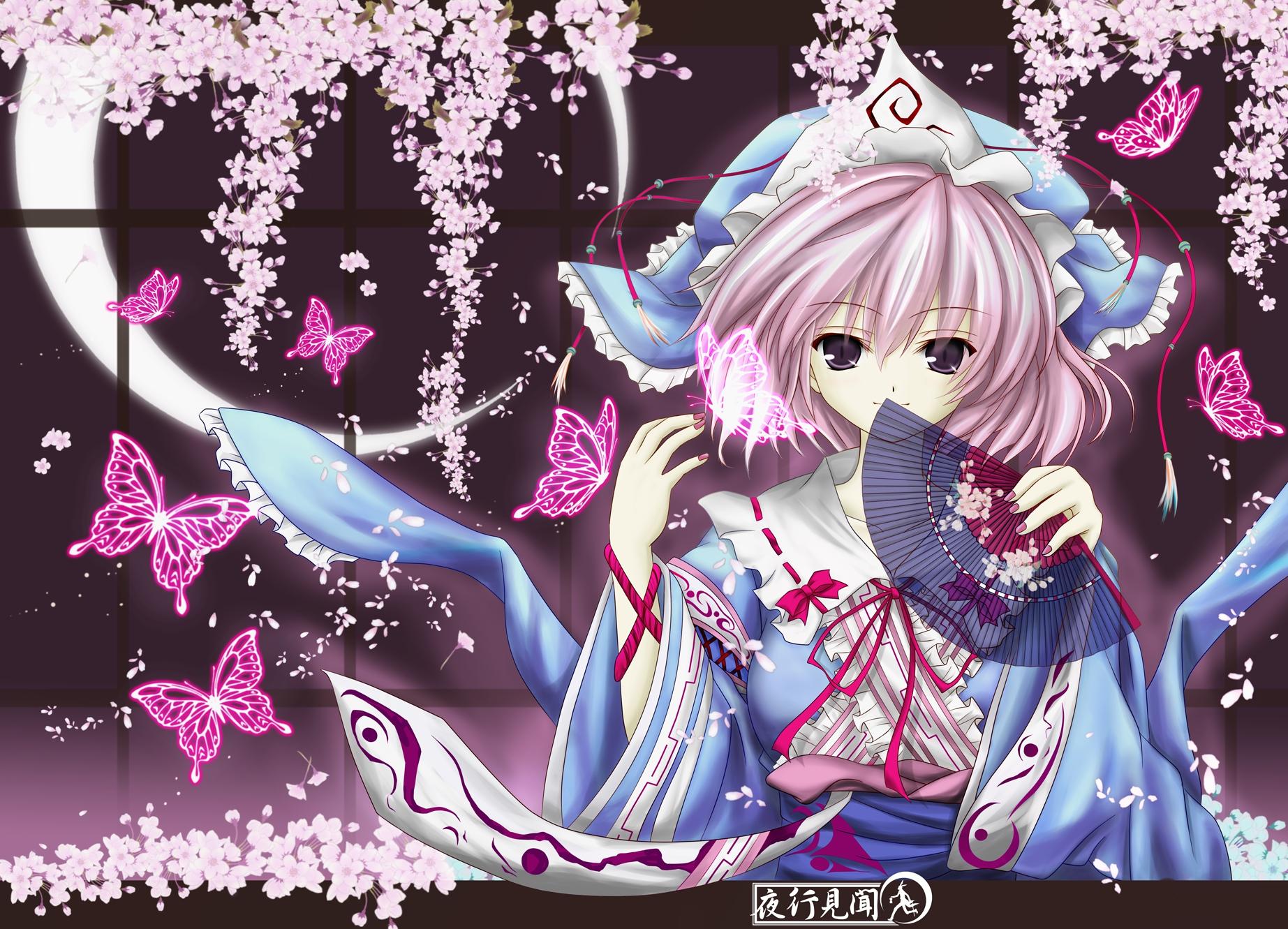 butterfly cherry_blossoms fan flowers hat japanese_clothes kimono moon petals pink_hair purple_eyes ribbons saigyouji_yuyuko short_hair touhou