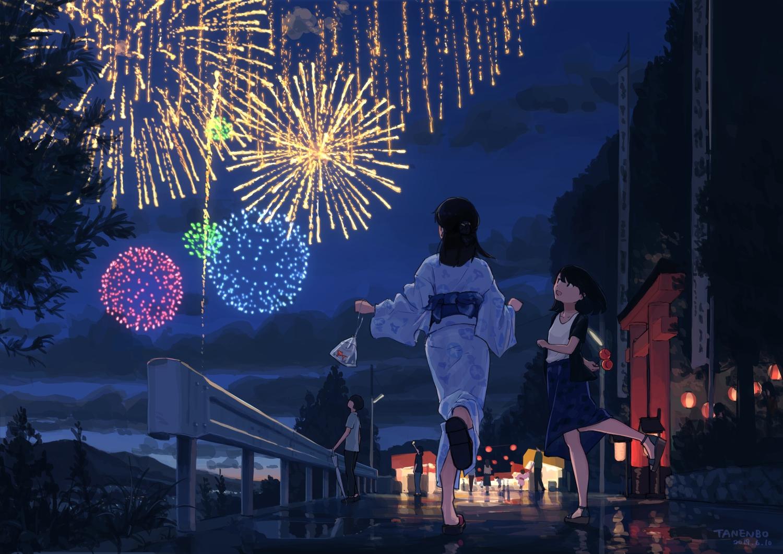 festival fireworks japanese_clothes night original scenic signed summer tanenbo_(yakikoke) yukata