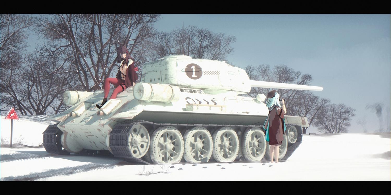 2girls animal_ears arknights bangeningmeng combat_vehicle istina_(arknights) long_hair pantyhose snow tree winter zima_(arknights)