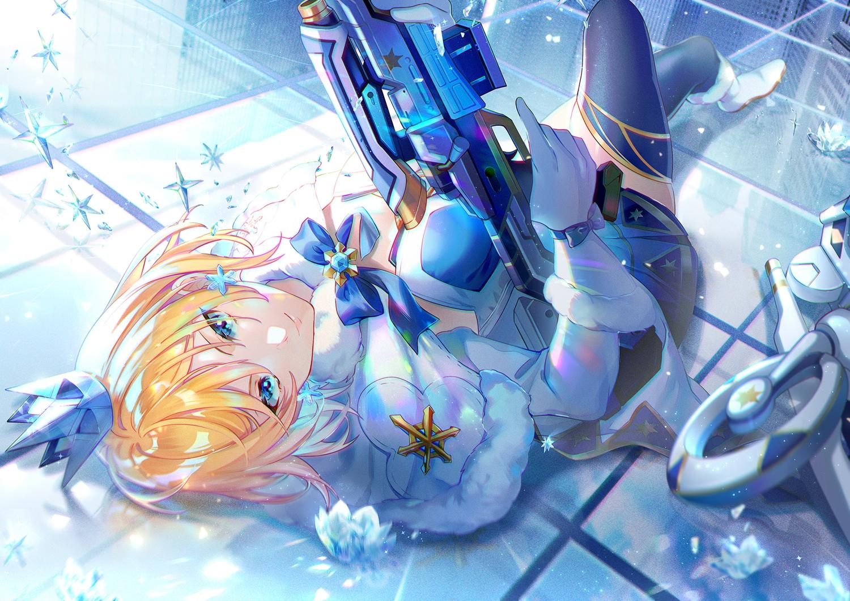 ace_force blonde_hair blue_eyes bow crown ekita_xuan gloves gun short_hair tagme_(character) thighhighs weapon