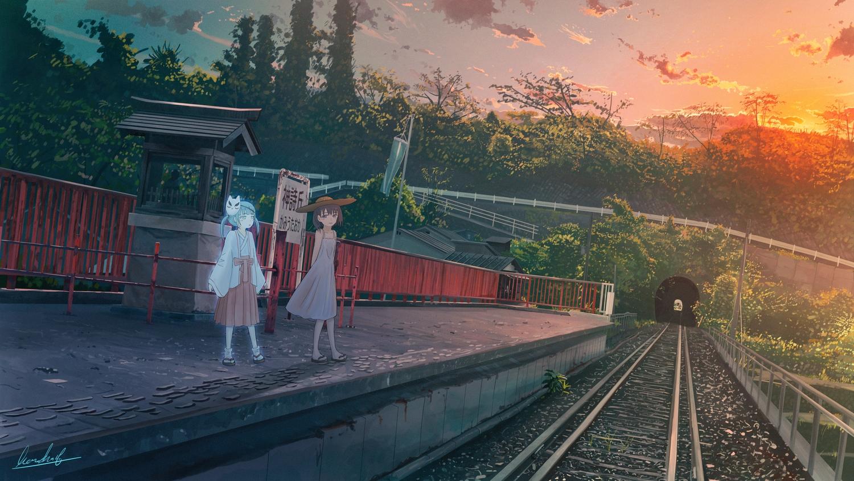 2girls banishment japanese_clothes original scenic signed sunset train