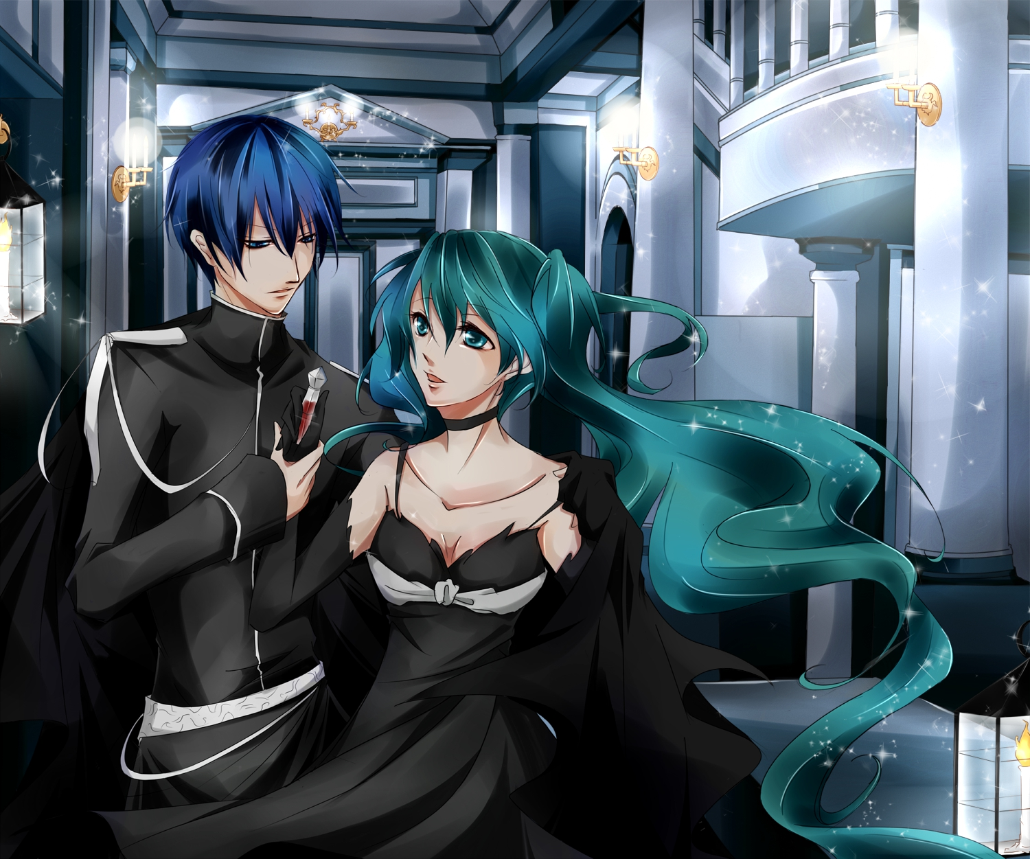 blue_hair cantarella_(vocaloid) dress hatsune_miku kaito twintails vocaloid