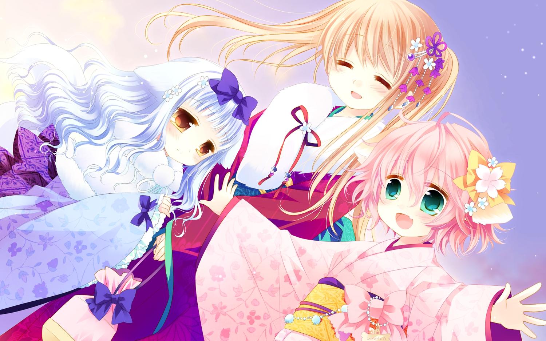 cuffs_(studio) japanese_clothes kimono lily_(w&l) sakurazawa_izumi touko wanko wanko_to_lily