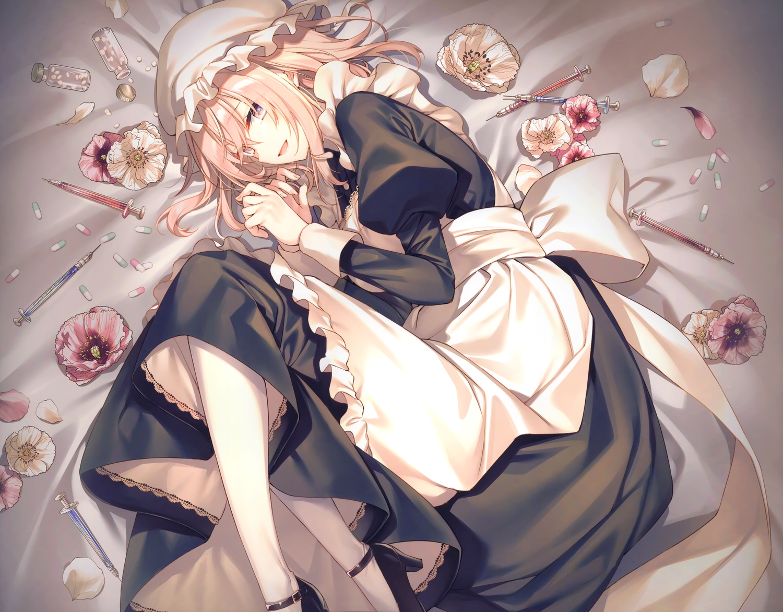 apron aqua_eyes blonde_hair cropped flowers hat long_hair maid original pantyhose petals scan toosaka_asagi