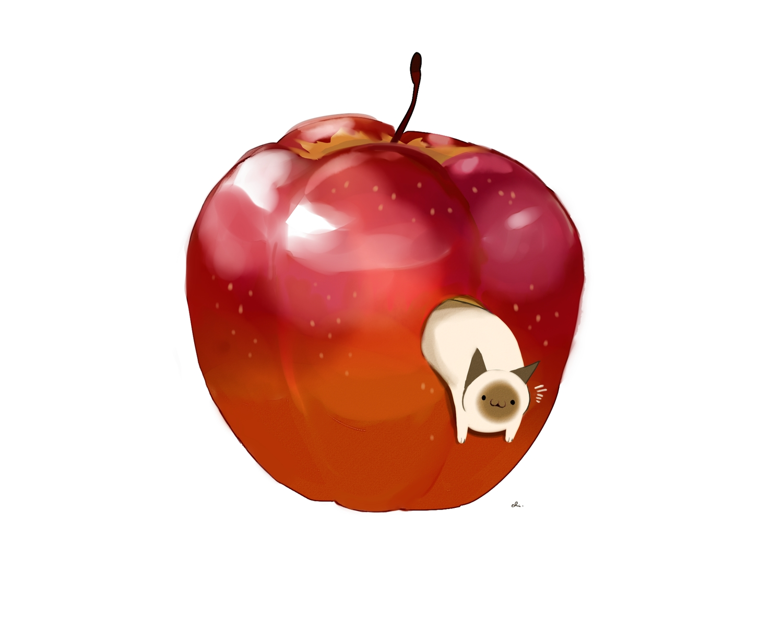animal apple cat chai_(artist) food fruit nobody original signed white