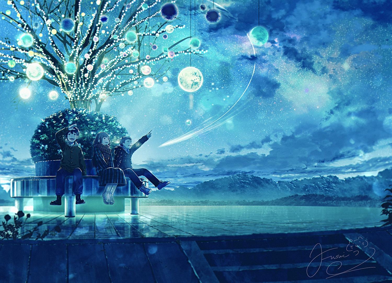 fusui male night original scenic sky stairs stars tree