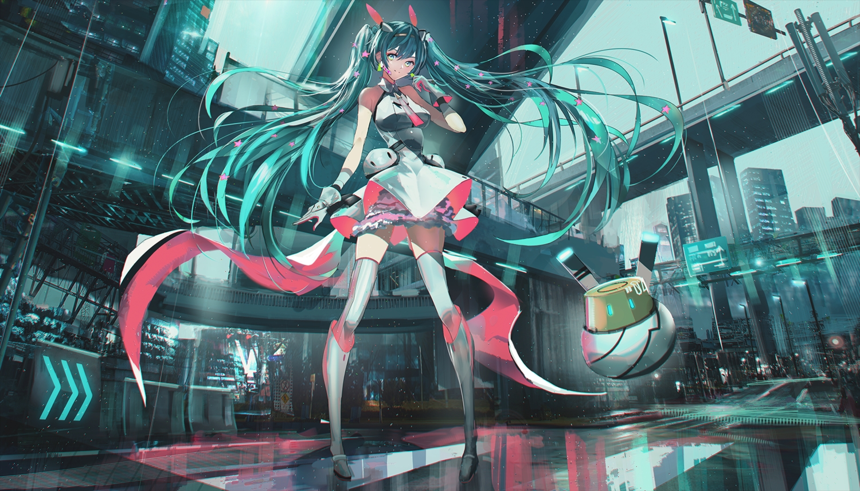 aqua_eyes aqua_hair building city dress gloves hatsune_miku long_hair robot swav thighhighs twintails vocaloid zettai_ryouiki
