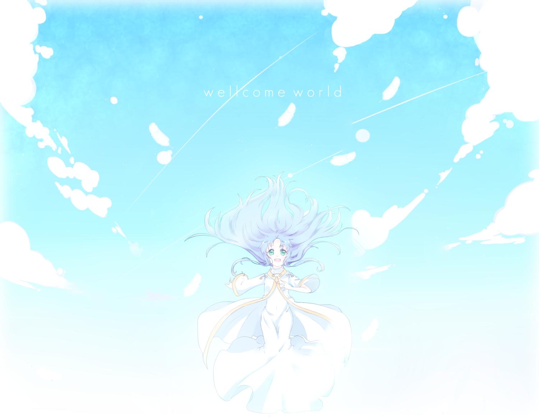 blue_hair green_eyes index long_hair nun sky to_aru_majutsu_no_index