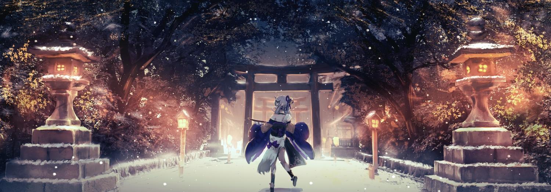 cropped demon drink horns japanese_clothes misaki_nonaka night nijisanji rindou_mikoto sake snow torii tree