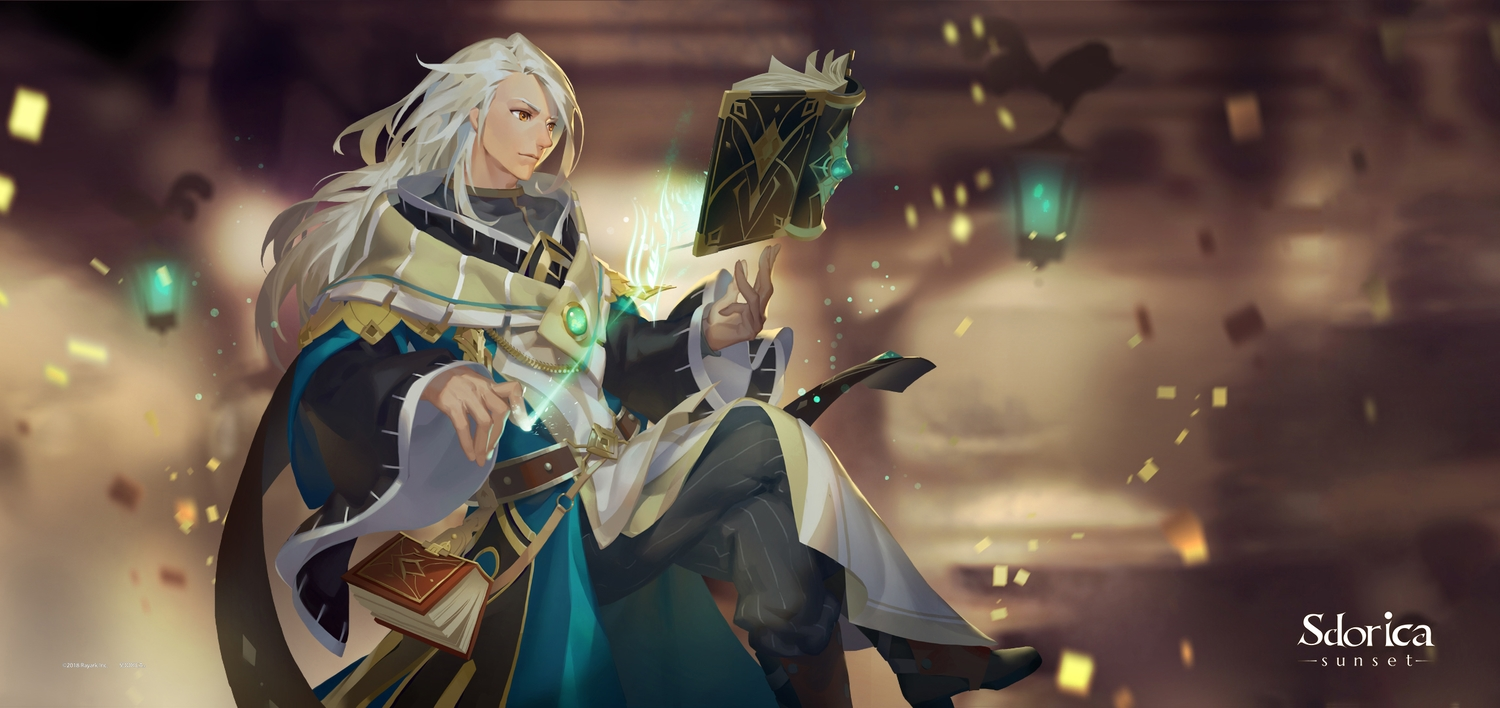 all_male book boots charle_(sdorica) lamier logo long_hair mage magic male orange_eyes sdorica_-sunset- white_hair