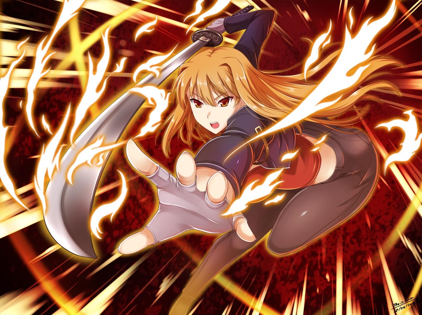 brown_eyes brown_hair katana long_hair sword tagme_(character) the-sinner weapon
