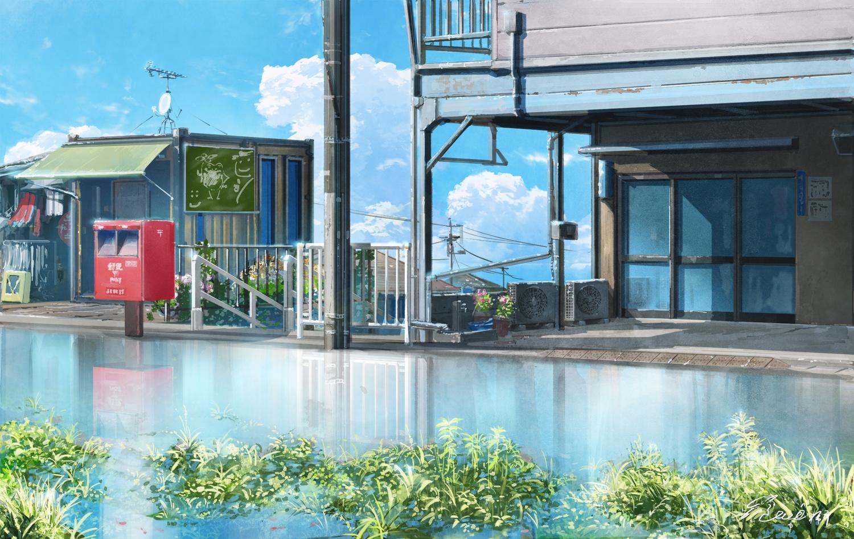 clouds grass hachiya_shohei nobody original reflection signed sky water