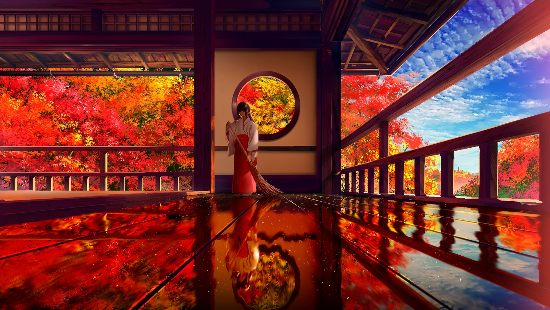 aliasing autumn black_hair building clouds japanese_clothes original reflection sky smile_(qd4nsvik) tree