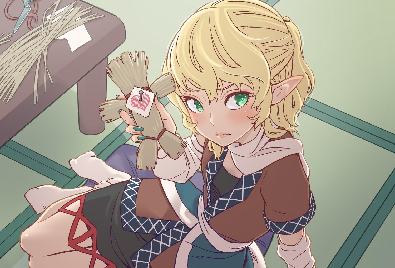 aliasing blonde_hair doll dress green_eyes kawayabug kotatsu mizuhashi_parsee pointed_ears ponytail scarf short_hair socks touhou