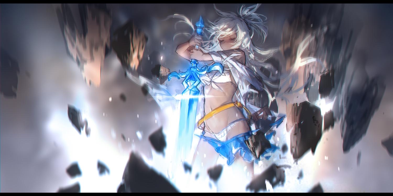 bikini dark_skin granblue_fantasy long_hair signed sketch swd3e2 swimsuit sword weapon white_hair zooey_(granblue_fantasy)