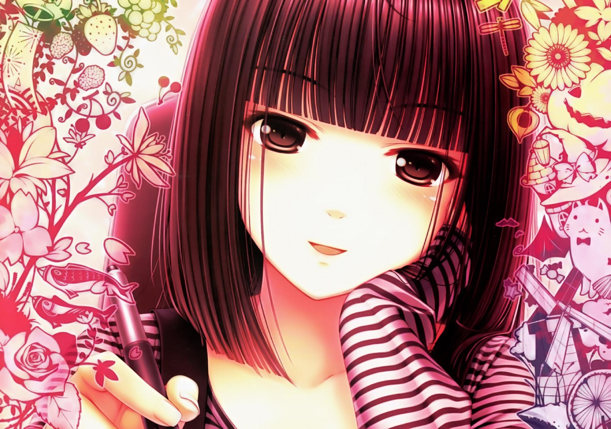 blush brown_eyes brown_hair close flowers food original sayori short_hair