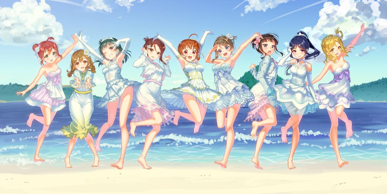 barefoot beach blonde_hair blue_hair braids brown_hair clouds dress elbow_gloves gloves green_hair group kunikida_hanamaru kurosawa_dia kurosawa_ruby long_hair love_live!_school_idol_project love_live!_sunshine!! matsuura_kanan ohara_mari orange_hair ponytail red_hair sakurauchi_riko short_hair sky summer_dress takami_chika tomiwo tsushima_yoshiko watanabe_you water