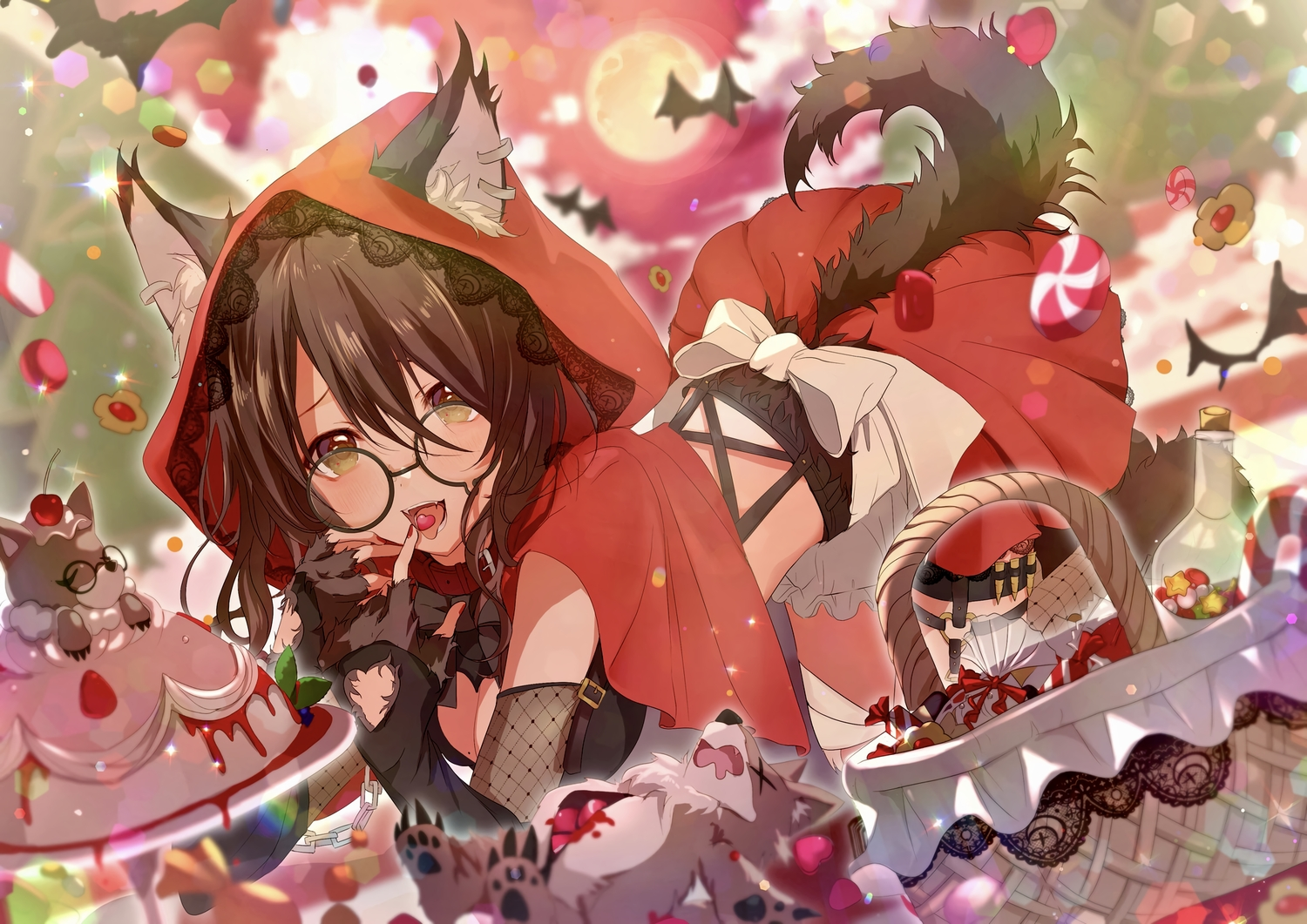 animal animal_ears bat blush breasts brown_eyes brown_hair cake candy cape chain cherry cleavage collar cosplay elbow_gloves fang food fruit garter glasses gloves halloween hoodie light_up little_red_riding_hood moon peach_punch skirt strawberry tail wolfgirl yuzuki_uru