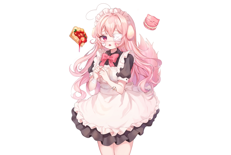 animal_ears apron bandage bandaid blush bow cat_smile eyepatch food fruit headdress long_hair maid original pink_eyes pink_hair strawberry tail white wristwear yam_(dr_yammy)