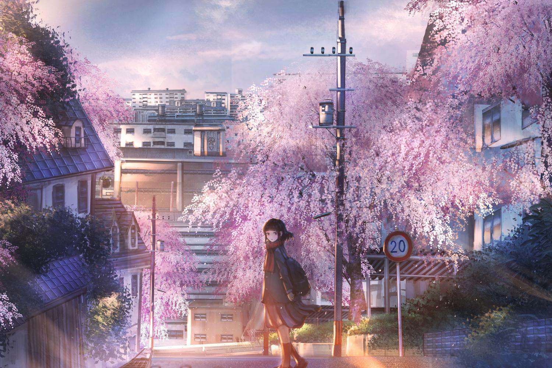 black_hair building cherry_blossoms city flowers original school_uniform skirt tagme_(artist) tree