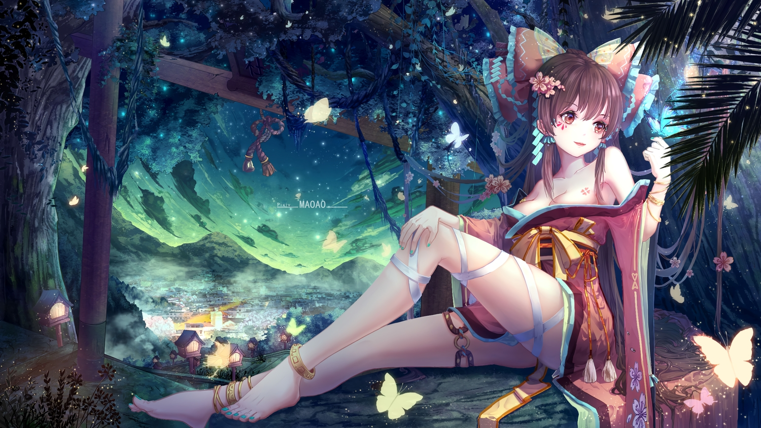 barefoot butterfly clouds hakurei_reimu japanese_clothes long_hair maoao sky torii touhou watermark