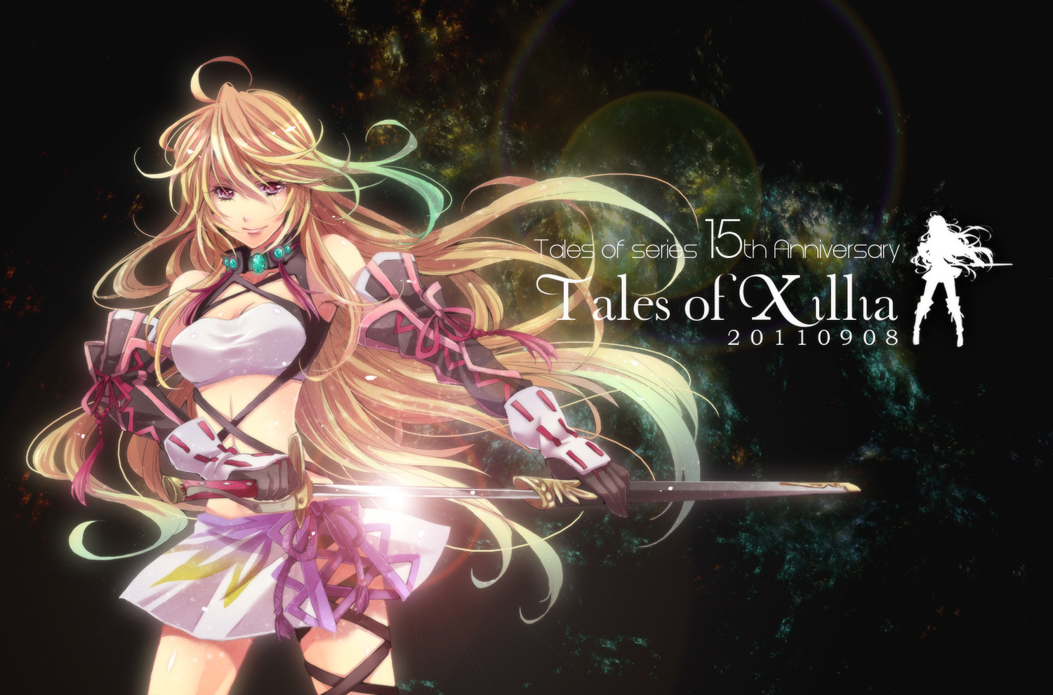 blonde_hair kanou_rihito milla_maxwell purple_eyes skirt sword tales_of_xillia weapon
