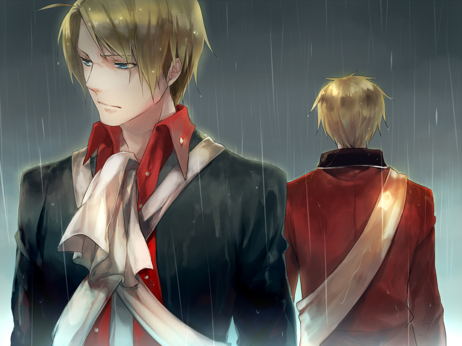 america_(hetalia) axis_powers_hetalia blonde_hair blue_eyes male rain sanbonzakura short_hair united_kingdom_(hetalia)