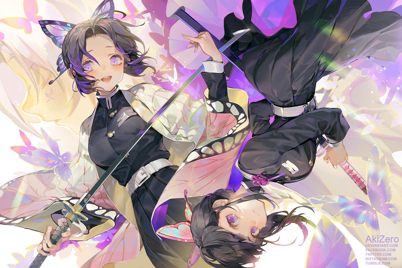 black_hair butterfly garter_belt katana kimetsu_no_yaiba kochou_shinobu purple_eyes short_hair sword watermark weapon zero1510