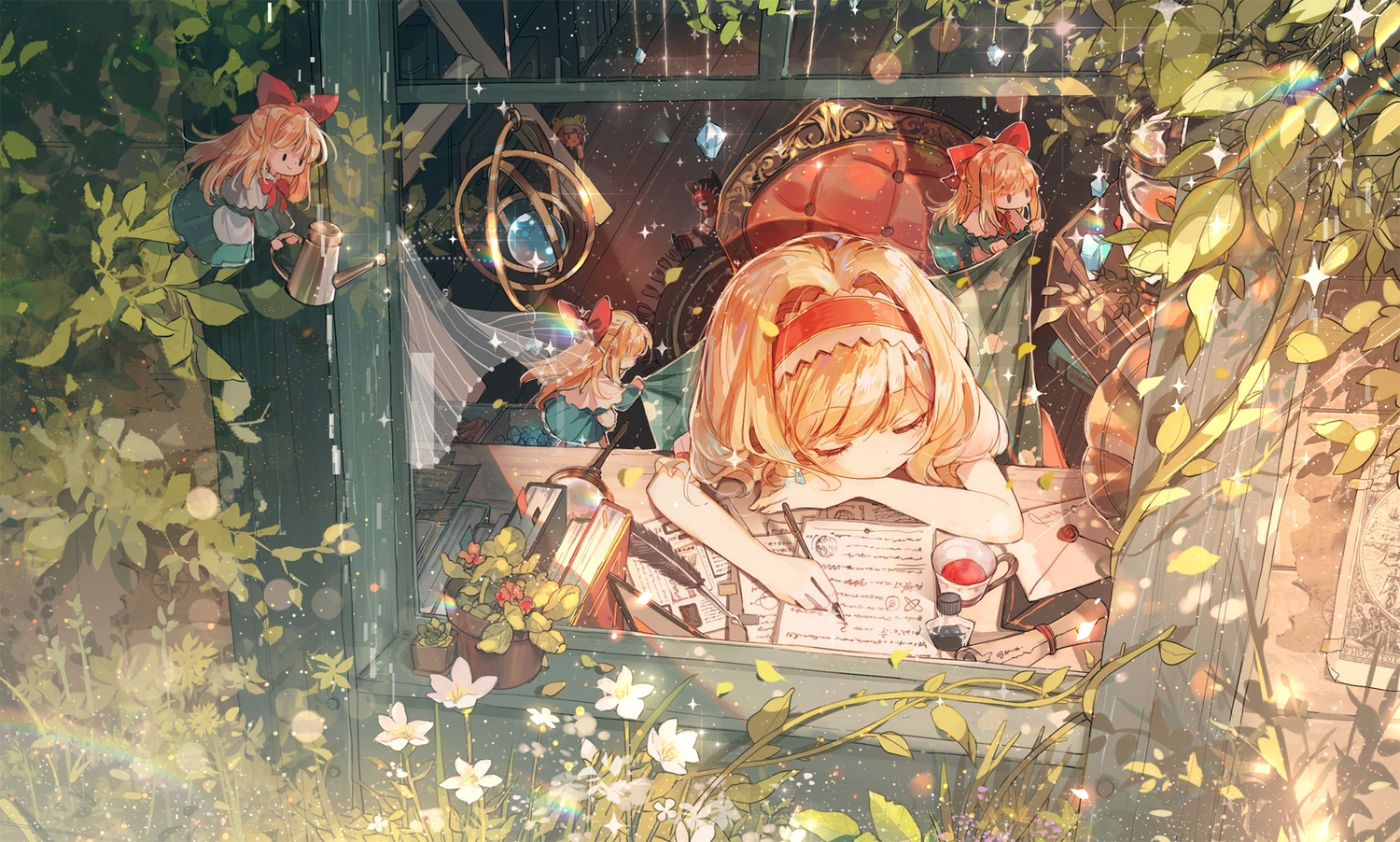 alice_margatroid blonde_hair book drink feathers flowers headband paper rokusai shanghai_doll sleeping touhou