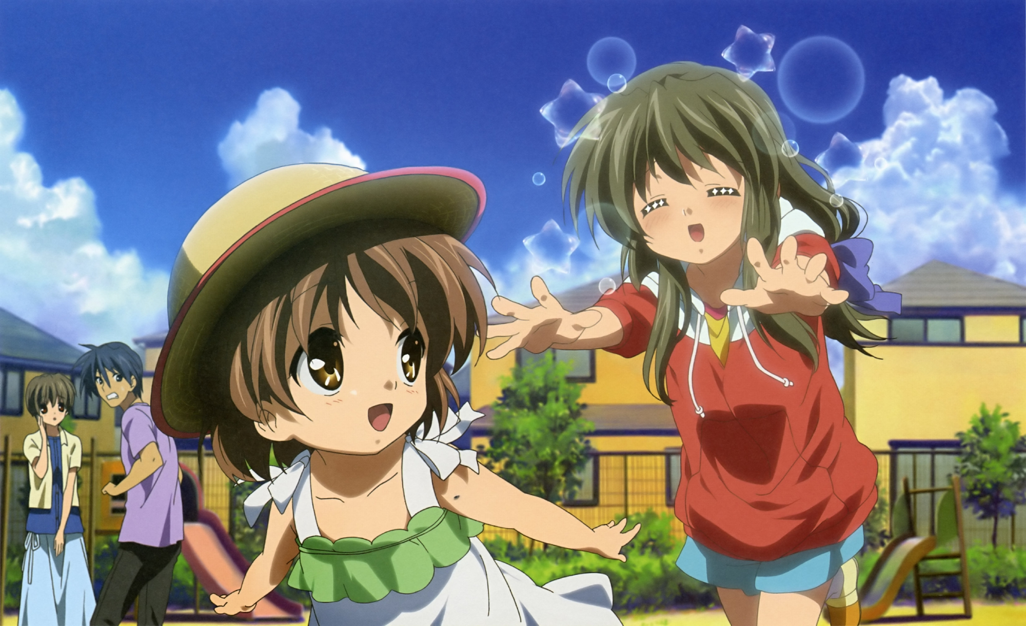 blush clannad dress hat ibuki_fuuko ibuki_kouko okazaki_tomoya okazaki_ushio scan short_hair takahashi_mariko