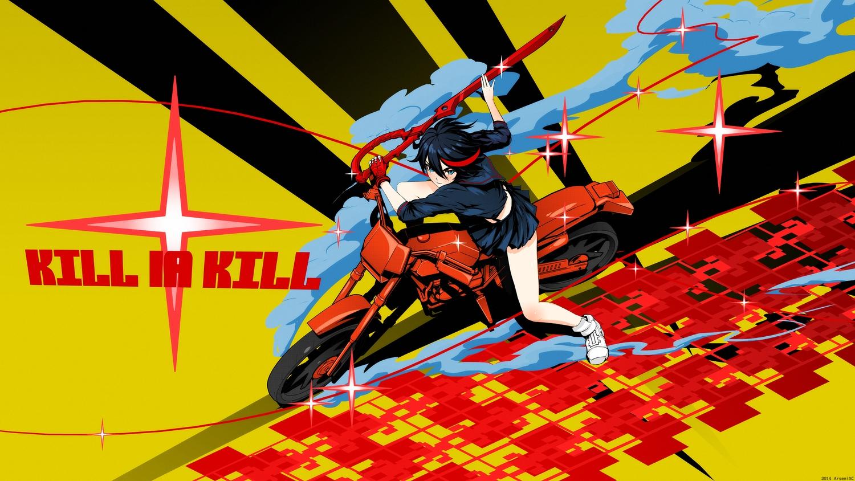 arsenixc black_hair blue_eyes gloves kill_la_kill matoi_ryuuko motorcycle red_hair school_uniform short_hair skirt sword weapon
