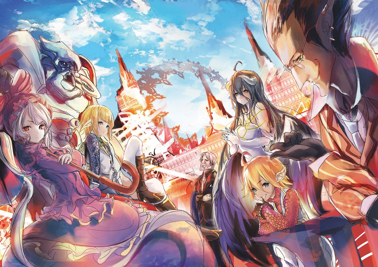 albedo aura_bella_fiora black_eyes black_hair blonde_hair cocytus demiurge demon glasses horns long_hair mare_bello_fiore overlord pointed_ears red_eyes sebas_tian shalltear_bloodfallen short_hair trap vampire white_hair wings xeirn
