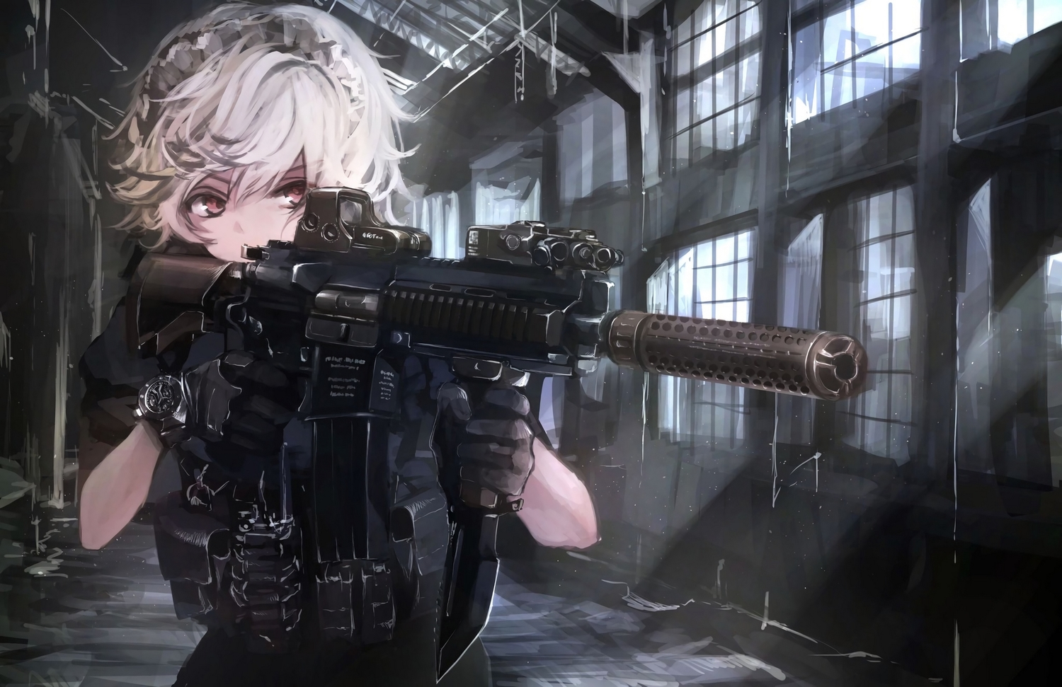 close gun headdress izayoi_sakuya koh_(minagi_kou) military red_eyes short_hair touhou weapon white_hair wristwear