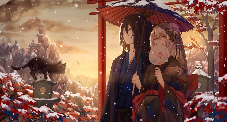 japanese_clothes leaves long_hair original snow umbrella xing_muhen