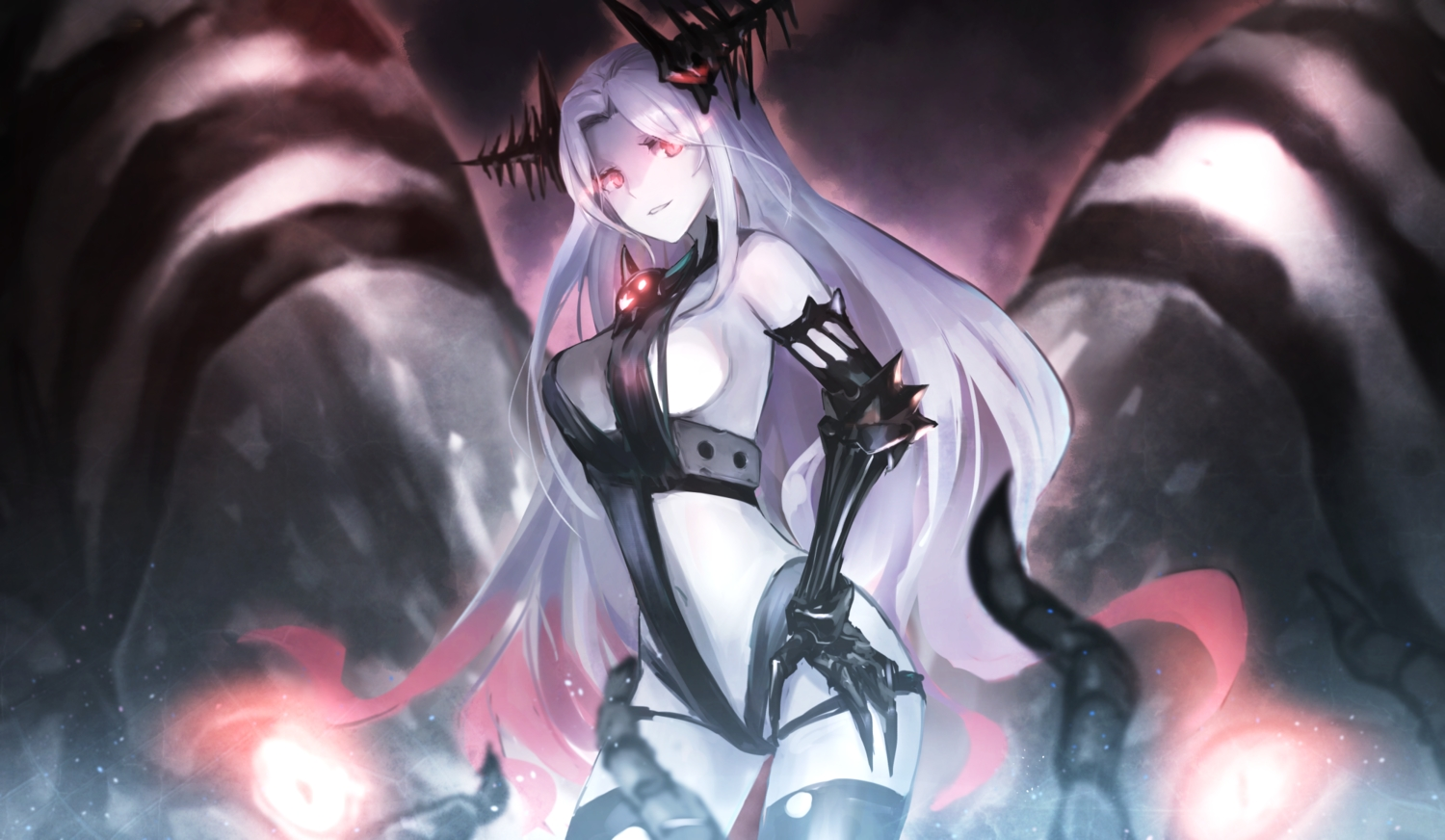 batavia_hime breasts elbow_gloves gloves kantai_collection long_hair pink_eyes thighhighs weasel_(close-to-the-edge) white_hair