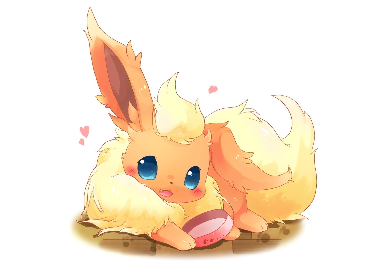animal cat_smile fang flareon fox heart nobody pokemon ushiinu white