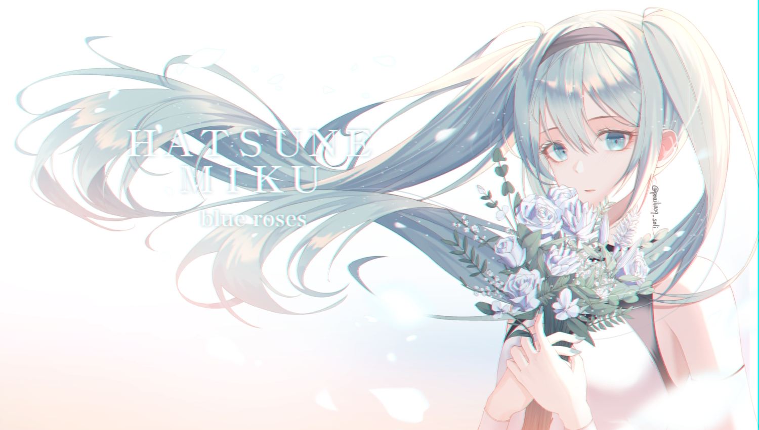 aqua_eyes aqua_hair flowers hatsune_miku long_hair rose signed soli_(pouiliuoq_soli) twintails vocaloid