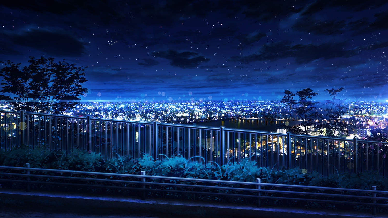 building city clouds landscape monorisu night nobody original scenic stars tree water