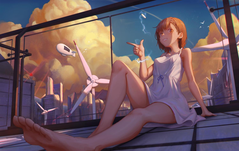 barefoot brown_eyes brown_hair building bwh city cropped dress erect_nipples misaka_mikoto no_bra rooftop skirt_lift sky summer_dress to_aru_kagaku_no_railgun to_aru_majutsu_no_index windmill