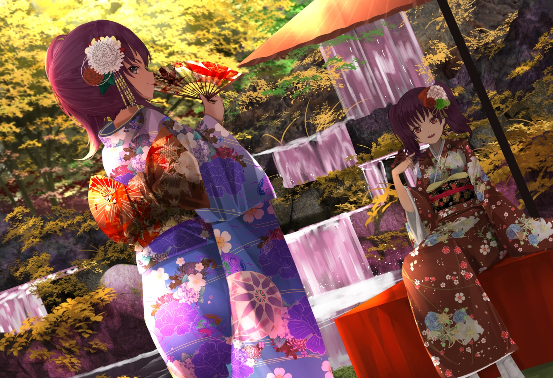 2girls fan japanese_clothes kazuno_leah kazuno_sarah kimono long_hair love_live!_school_idol_project love_live!_sunshine!! orein ponytail purple_hair red_eyes tree twintails water waterfall