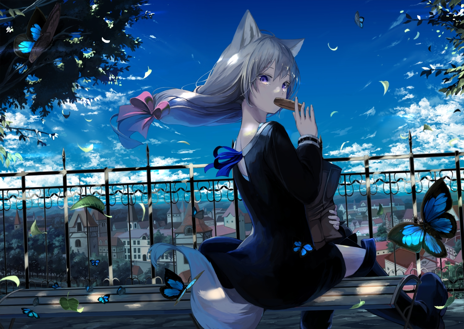animal_ears boots building butterfly city clouds dress food gray_hair long_hair mikisai original ponytail purple_eyes shade sky tail tree