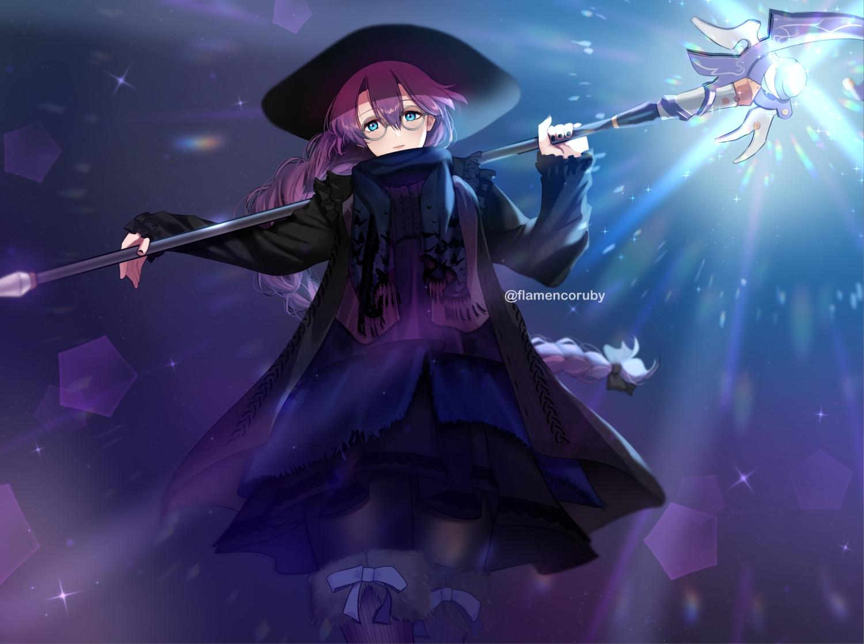 aqua_eyes boots braids eiyuu_densetsu emma_millstein glasses hat long_hair mage magic pantyhose parasol_(yamila) ponytail purple_hair scarf sen_no_kiseki staff witch_hat