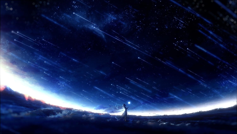 aliasing dress night original scenic silhouette sky stars wings y_y_(ysk_ygc)
